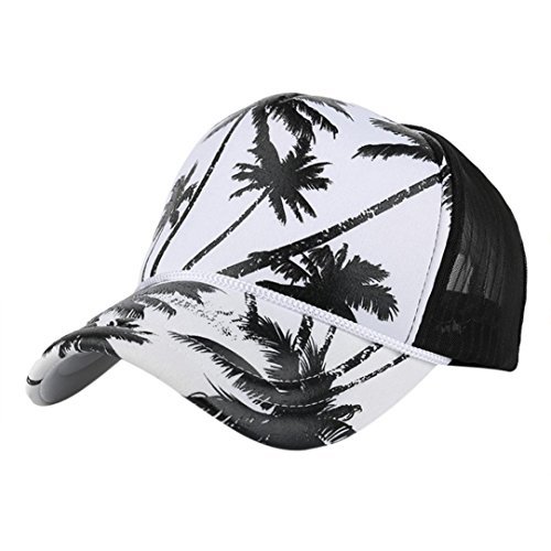 Price comparison product image BIG HOT Coconut Tree Printing Baseball Cap , BeautyVan Fashion 1PC Women Men Coconut Tree Printing Hip Hop Flat Hat Baseball Cap (Black)