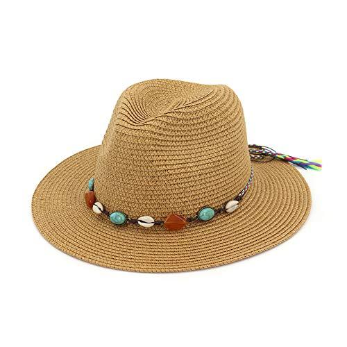 (Vim Tree Women Wide Brim Straw Hat Fedora Summer Sun Beach Caps Khaki A)