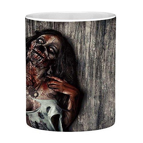 Funny Coffee Mug with Quote Zombie Decor 11 Ounces Funny Coffee Mug Angry Dead Woman Sacrifice Fantasy Mystic Night Halloween Image Decorative Dark Taupe Peach Red
