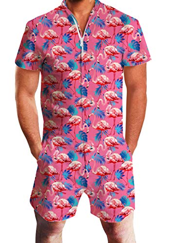 AIDEAONE Music Festival Men Romper Beach Short Sleeve Flamingo Jumpsuit One Piece Slim Fit Overalls Fashion Vacation Outfit S