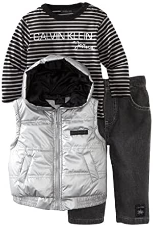 Calvin Klein Baby-boys Newborn Vest with Long Sleeve Striped Tee and Pant, Assorted, 6-9 Months