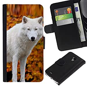 KingStore / Leather Etui en cuir / Samsung Galaxy S4 Mini i9190 / White Wolf hojas de oto?o amarillo perro salvaje