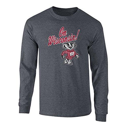 Elite Fan Shop NCAA Men's Wisconsin Badgers Long Sleeve T Shirt Charcoal Vintage Wisconsin Badgers Charcoal XX Large
