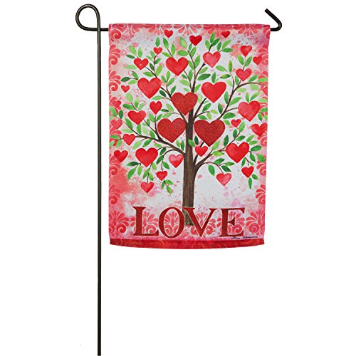 Evergreen Flag Tree of Love Embelished Suede Garden Flag, 12.5 x 18 inches