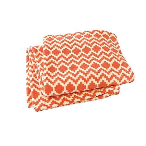 (Time Concept Ultra-Soft Micro-Fleece Throw Blanket - Orange Geometric - XL)