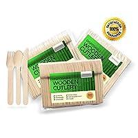 """Cubiertos desechables de madera, juego de 300 piezas: 100 tenedores, 100 cucharas, 100 cuchillos, 6 """"de largo, ecológico, biodegradable, utensilios compostables"""