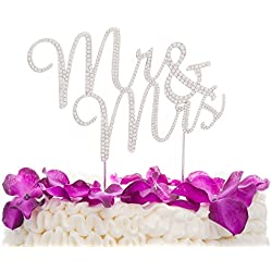 Ella Celebration Mr and Mrs Wedding Cake Topper Rhinestone Monogram Decoration Cake Toppers (silver)