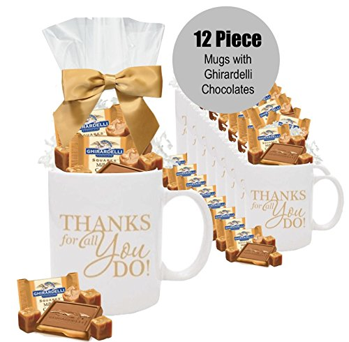 Set 12 Ghirardelli Gift Mugs/Employee Appreciaiton Gifts/Admin Gifts/Holiday Thank you Mugs with Chocolate Squares/Ghirardelli Gift Mugs/Office Gift Mugs/Corporate Thank You Gifts/Business Mugs/Employee Appreciation Gift Mugs