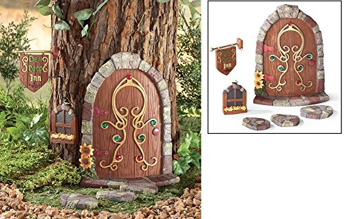 A Six Pieces Set Cute Dew Drop Inn Fairy Gnome Tree Decoration OutDoor Garden (Gnome Door)