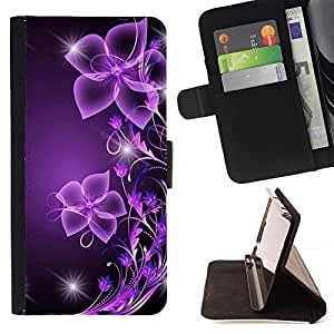 For Sony Xperia Z3 D6603 Purple Black Bling Glitter Style PU Leather Case Wallet Flip Stand Flap Closure Cover