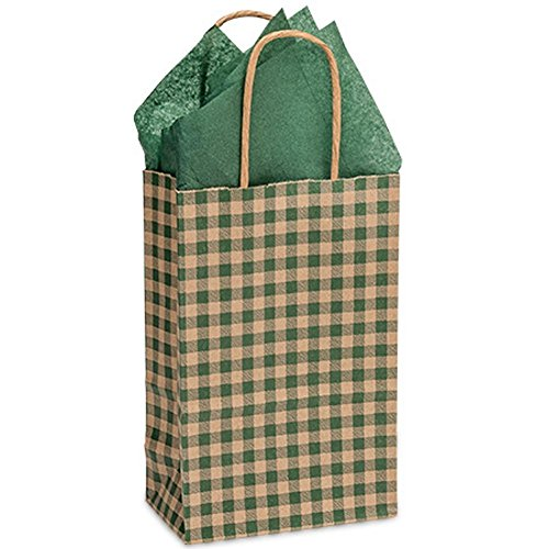Hunter Gingham Paper Shopping Bags - Rose Size - 5 1/2 x 3 1/4 x 8 3/8in. - 250 Pack by NW