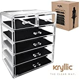 Makeup Organizer Jewelry Cosmetic Storage - Large Acrylic 6 Drawer Compartments - Perfect to store your Accessories, Brushes, Lipsticks, Creams, Nail Polish, Bracelets, Watches and more By Kryllic (6 Drawer)