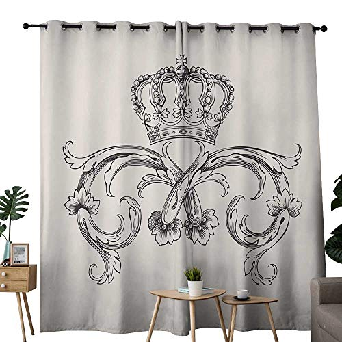 LewisColeridge Room Darkening Wide Curtains Medieval,Royal Crown with Vintage Curves King Palace Ribbon Monochrome Retro Style,Queen Full,Beige Dark Brown,Light Blocking Drapes with Liner 52