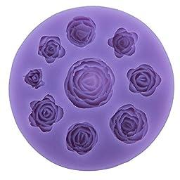 niceeshop(TM) 9 Cavity Rose Flower Shape DIY Cake Decorating Fondant Silicone Sugar Craft Molds,Random Color
