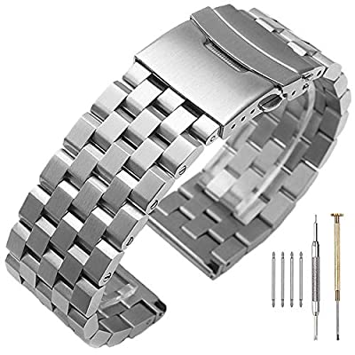 High Grade 5 Rows Engineer Metal Watch Band Solid Brushed Stainless Steel Watch Bracelet Straps Black&Silver Replacement Watch Band with Screws 20mm/22mm/24mm Double Lock Clasp for Men Women from SINAIKE