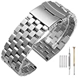 24mm Silver Engineer Watch Band with Screw Brushed & Polished Watchband 316L Stainless Steel Watch Bracelet Solid Metal Strap Double Buckle Deployment Clasp for Men