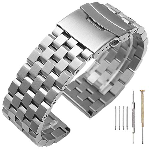 24mm Silver Engineer Watch Band with Screw Brushed & Polished Watch Strap 316L Stainless Steel Watch Bracelet Solid Metal Strap Double Buckle Deployment Clasp for - Double Strap Bracelet Watch