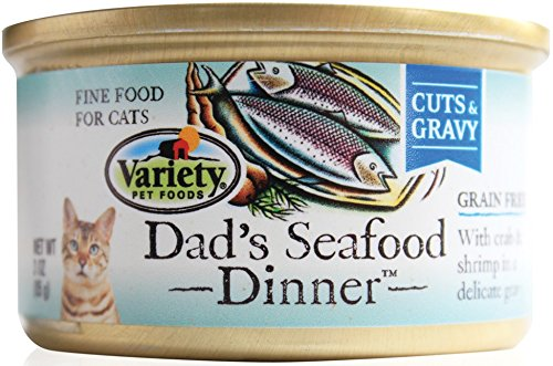 Homestyle Recipes, Dad's Seafood Dinner, 24/3-Ounce Cans, Cuts and Gravy, Grain Free Cat - Variety Foods Pet
