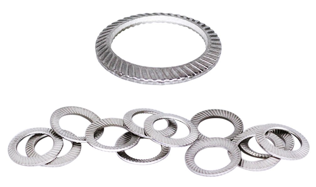 (12pcs) M10 Stainless SCHNORR Brand Ribbed Safety Spring Lock Washer Metric, BelMetric WSH10SS