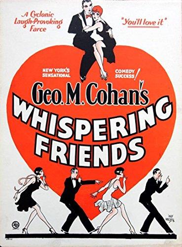 WHISPERING FRIENDS (1928) George M. Cohan comedy / Hap Hadley window card, 20s art