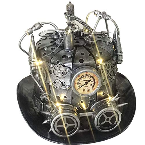 Storm Buy ] Steampunk Style Metallic Top Hat Scientist Time Traveler Halloween Costume Cosplay Party with Goggles & Led Light (Silver with Led -