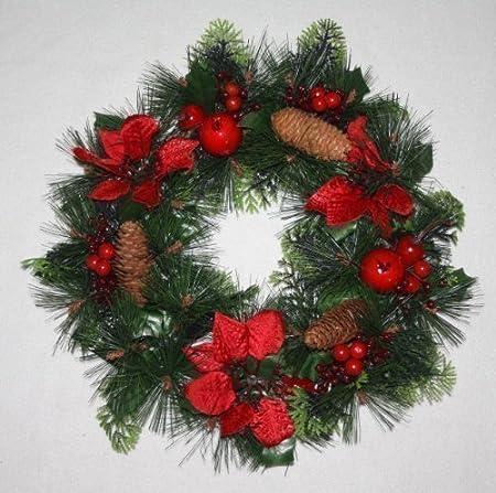 Couronne De Noel Artificielle Composee De Poinsettia Fruit Rouge Et Pommes De Pin 846