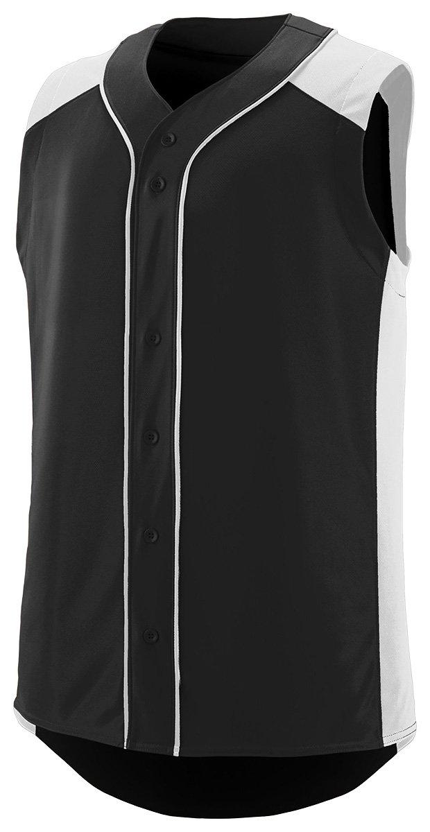 Augusta SportswearメンズノースリーブSlugger野球ジャージー B01B6OGFWA Small|ブラック/ホワイト ブラック/ホワイト Small