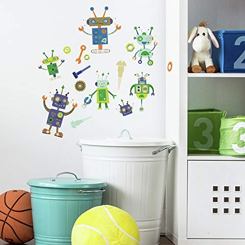 (RoomMates Robots Peel and Stick Wall Decals)