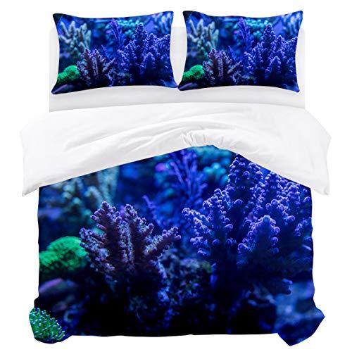 - KAROLA 3Pcs Duvet Cover Set Full,Bedding Set Soft Comforter Cover Zipper Closure Quilt Cover Sets Submarine Colored Coral Group (86