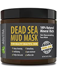 """ASUTRA Organic Dead Sea Mud Mask,""""ORIGINAL UNSCENTED"""" + FREE Applicator Brush, Combat Acne, Oily Skin & Blackheads, Minimize Pores, For Smooth, Beautiful & Healthy Looking Skin, 16 oz"""