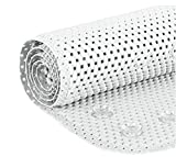 Deluxe Non Slip Shower Bath tub Soft Foam Rug, Mildew Resistant, Antibacterial, BPA, Latex, Phthalate Free, Bathtub Mat with Drain Holes, Suction Cups - White