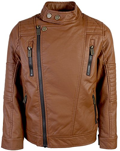 Urban Republic Big Boys\' Faux Leather Asymmetrical Zipper Moto Jacket (14/16, Cognac)'