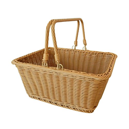 CVHOMEDECO. Rectangular Imitation Rattan Storage Basket Shopping Basket Market Basket with Swimming Handle Resin Wicker Picnic Basket. Light Brown. 13-1/2
