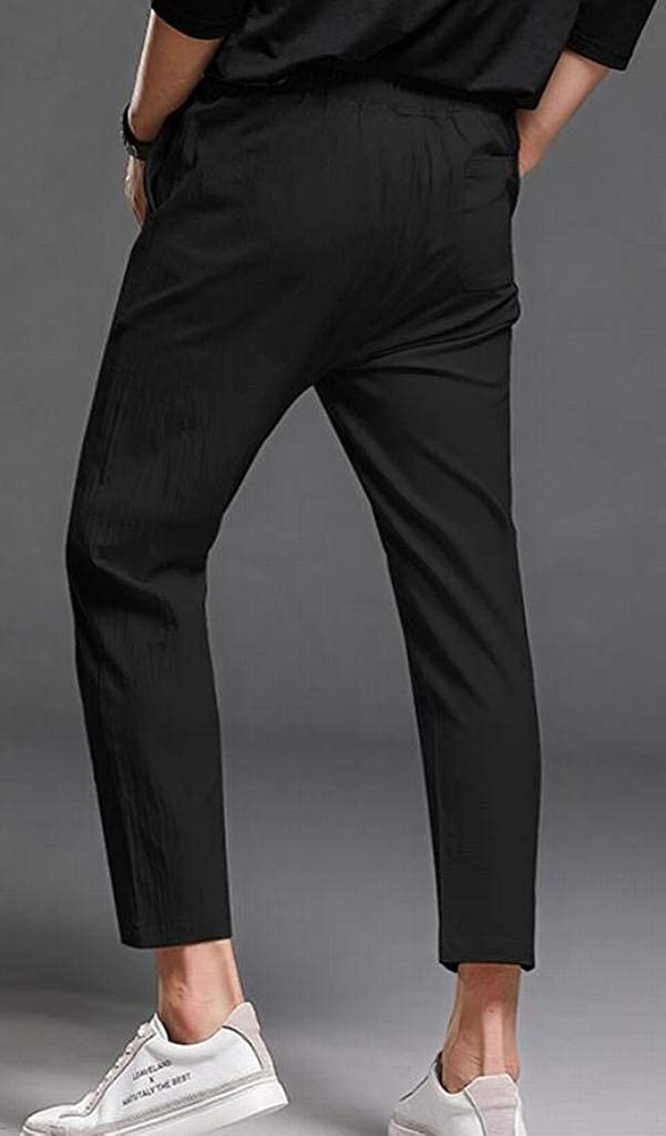 Jotebriyo Men Chinese Style Print Mid Waisted Casual Cotton Linen Harem Pants Trousers