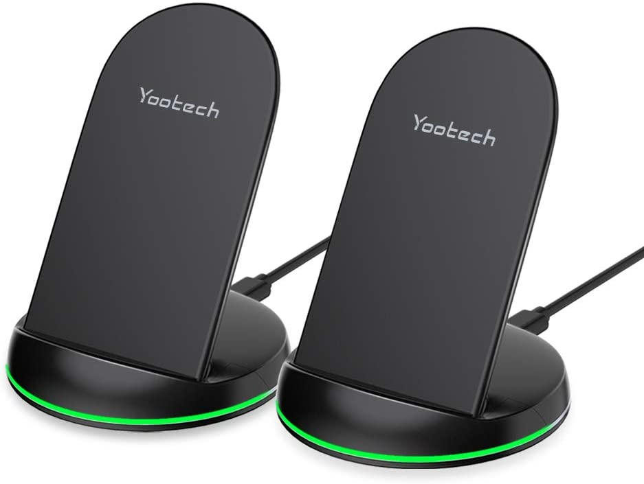 Yootech [2 Pack] Wireless Charger Qi-Certified 10W Max Wireless Charging Stand, Compatible with iPhone SE 2020/11/11 Pro/11 Pro Max/Xs MAX/XR/XS/X, Galaxy S20/Note 10/S10 Plus/S10E(No AC Adapter)