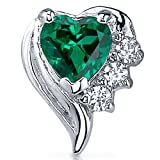 100-Carats-Simulated-Emerald-Heart-Shape-Earrings-Sterling-Silver-Rhodium-Nickel-Finish