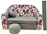 Pro Cosmo A33 Kids Sofa Bed Pouffe/Footstool/Pillow, cotton, Multi-Colour, 168 x 98 x 60 cm