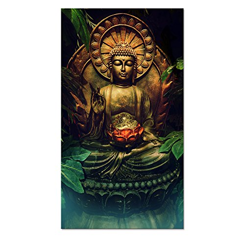 Visual Art Decor Modern Buddha Canvas Wall Art,Buddha Painting Picture Prints,Buddha Statue Wall Decoration Framed and Stretched Giclee Canvas Print Buddha Wall Art (Framed)