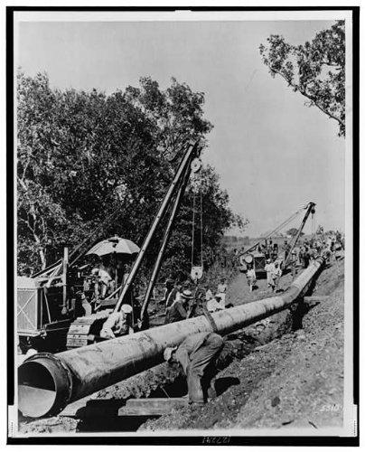 Oil Gas Map (Photo: 1942 Oil pipeline-Longview, Texas-TX-Salem, Illinois-IL . Size: 8x10 (approximately))