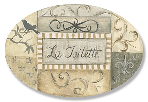 The Stupell Home Decor Collection La Toilette Grey Patchwork Oval Bathroom Wall Plaque