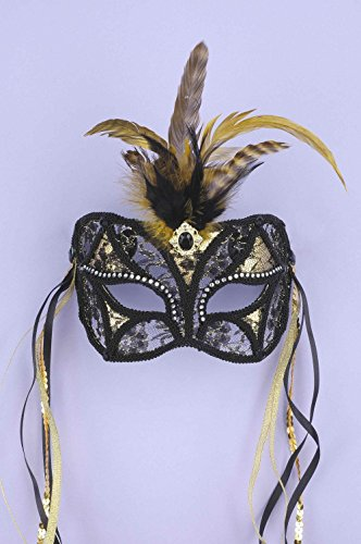 Forum Mardi Gras Costume Masquerade Mask/Lace With Feathers and Ribbon, Black/Gold, One (Feather Half Masks)