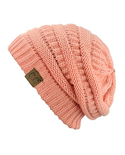 C.C Trendy Warm Chunky Soft Stretch Cable Knit Beanie Skully, (Chunky Peach)