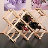 yazi Burlywood Foldable 10-Bottle Wine Rack Storage Home Bar Organizer Display Shelf