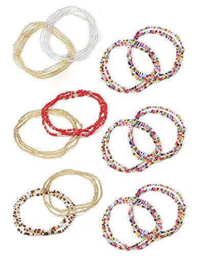 (LOLIAS 12 Pcs Summer Jewelry Beaded Belly Chain Colorful Waist Bead Set Boho Body Chain Bikini Jewelry for Woman Girl)