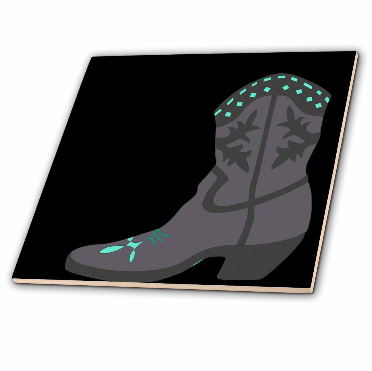 3dRose ct/_38402/_1 Gray Cowboy Boot Ceramic Tile 4-Inch