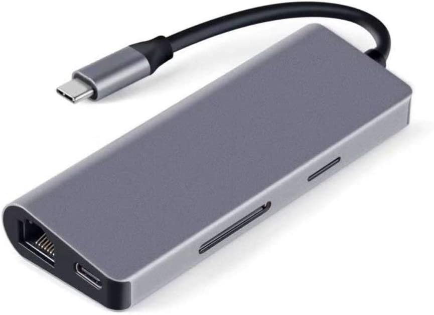 Color : Space gray , Size : 105.4x40.9X16.3mm USB Hub USB C Hub 7 In 1 USB C Adapter With 4K HDMI 2 USB 3.0 Ports SD TF Card Reader PD Charging,Gigabit Network Card Compatible Ultra Slim Data Hub