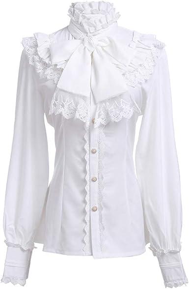 Vintage Women/'s Cotton Ruffle Button Up White Blouse