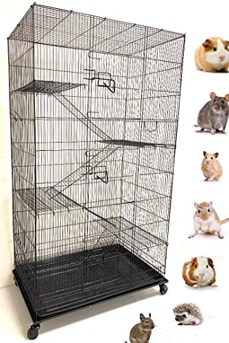New Large Wrought Iron 4 Levels Ferret Chinchilla Sugar Glider Rats Cage with Removable Stand, 32-Inch by 19-Inch by 60-Inch (Black Vein)