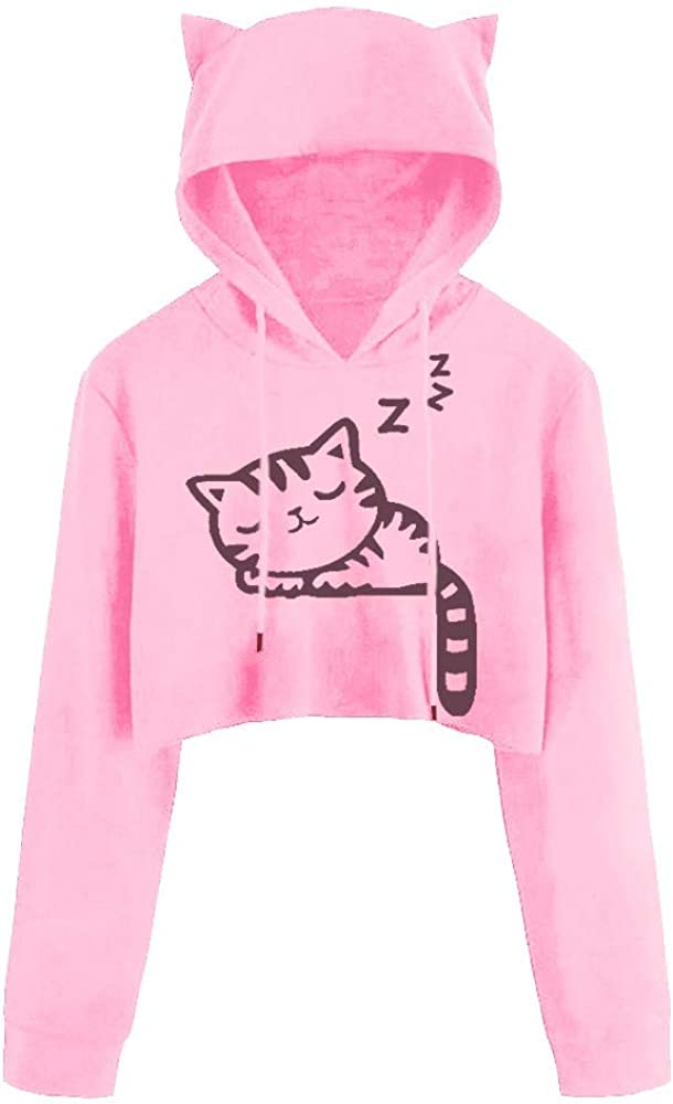 Womens Sweatshirts and Hoodies Hessimy Womens Cropped Hoodie Cute Cat Ear Long Sleeve Cotton Sweatshirts