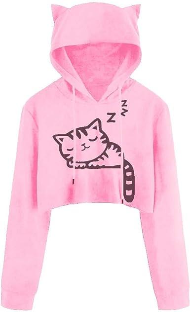 Gato Sudaderas Mujer Tumblr Cortas con Capucha - Adolescentes Chica Niña Camiseta de Manga Larga - Kawaii Tops Ropa Invierno Otoño 2019: Amazon.es: Ropa y accesorios
